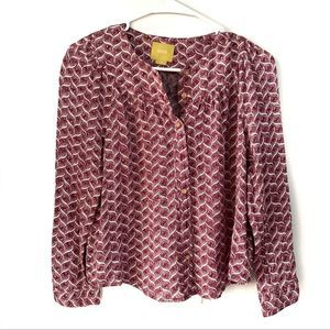 Maeve Purple and White Printer Button Up Top